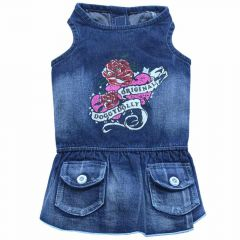 Original DoggyDolly Jeanshundekleid Roses