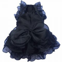 Luxushundekleid Black Organza