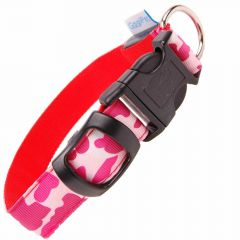 GogiPet ® Camouflage Leucht- Hundehalsband L rot