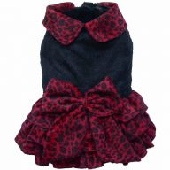DoggyDolly W192 - Luxus Hundekleid Leopard rot